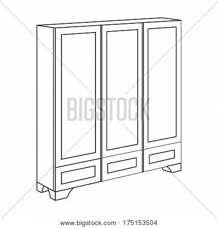 Bedroom wardrobe for clothing.Bedroom furniture for clothes.Bedroom furniture single icon in outline style vector symbol stock web illustration.