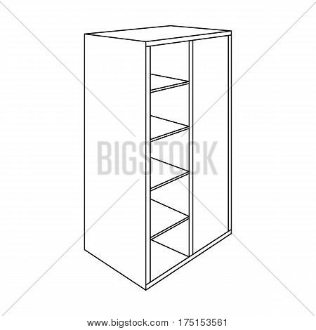 Light Cabinet with bins and mirror.Wardrobe for women's clothing.Bedroom furniture single icon in outline style vector symbol stock web illustration.