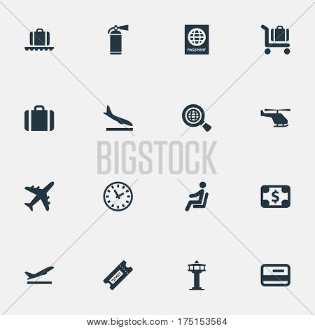 Vector Illustration Set Of Simple Travel Icons. Elements Certificate Of Citizenship, Handbag, Coupon Synonyms Conveyor, Landing And Credit.