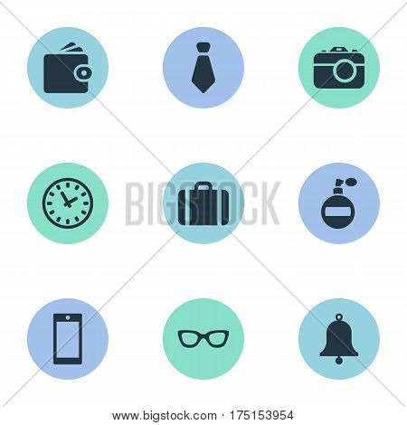 Vector Illustration Set Of Simple  Icons. Elements Billfold, Fragrance, Ring And Other Synonyms Billfold, Camera And Suitcase.