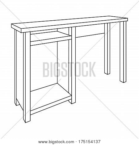 Wooden table legs.Table for drawing pictures.Table with drawers sketch icon for infographic, website or app.Bedroom furniture single icon in outline style vector symbol stock web illustration.