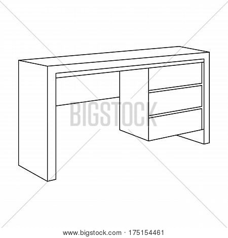 A small table for writing.Wooden table on legs with drawers.Bedroom furniture single icon in outline style vector symbol stock web illustration.