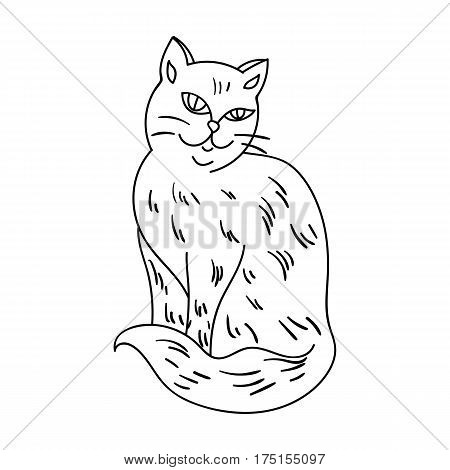 Nebelung icon in outline design isolated on white background. Cat breeds symbol stock vector illustration.