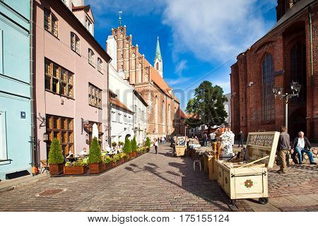 Riga, Latvia - July, 2012: Square in old town of Riga, Latvia.
