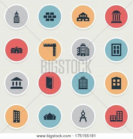 Vector Illustration Set Of Simple Construction Icons. Elements Academy, Offices, Gate And Other Synonyms Edifice, Brick And Length.