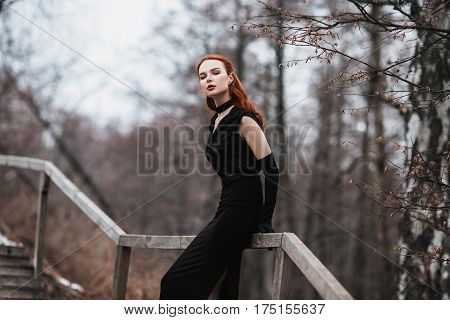 Striking elegant girl with long red hair in black clothes. Woman in black elegant dress and long black gloves posing on a background of winter autumn nature. Female elegant street fashion style. Beautiful elegant model