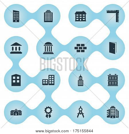 Vector Illustration Set Of Simple Structure Icons. Elements Booth, Flat, Residence And Other Synonyms Apartment, Block And Academy.