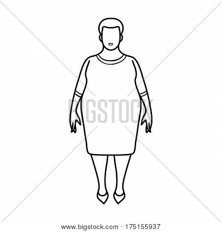 Fat woman in a red dress.A fat woman because of diabetes.Diabetes single icon in outline style vector symbol stock web illustration.