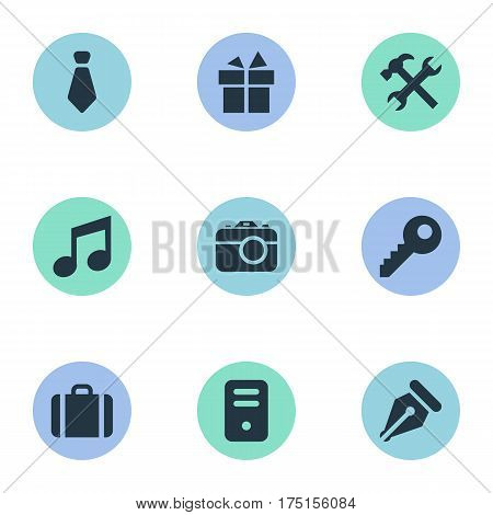 Vector Illustration Set Of Simple Instrument Icons. Elements Music, Briefcase, Present And Other Synonyms Gratuity, Suitcase And Keyhole.
