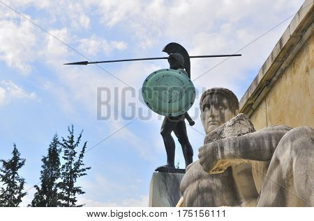 Statue of Leonidas who fought to death with his famous 300 Spartans against the Persians