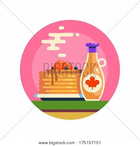 Hot tasty pancakes with berries and maple syrup. A stack of delicious flapjacks and sauce bottle. Vector icon in flat design.