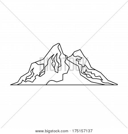 Sharp mountains, on the tops of which the snow melts.Different mountains single icon in outline style vector symbol stock web illustration.