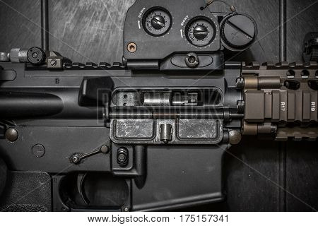 AR15 5.56 chamber close up bolt carrier