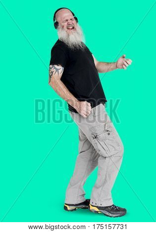 Bearded rocker guy playing air guitar portrait