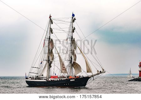 Rostock, Germany - August 2016: Sailing ship Mercedes on the sea. Hanse-Sail Warnemuende at port Rostock, Mecklenburg-Vorpommern, Germany. Tall Ship.Yachting and Sailing travel. Cruises and holidays
