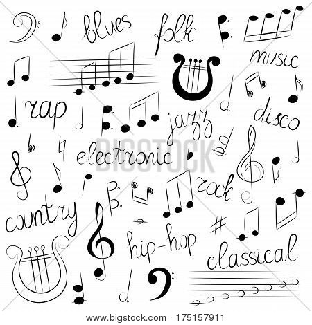 Hand Drawn Set of Music Symbols and Styles. Doodle Treble Clef Bass Clef Notes and Lyre. Lettering of Blues Electronic Jazz Rap Disco Folk Country Rock Classical. Vector Illustration.