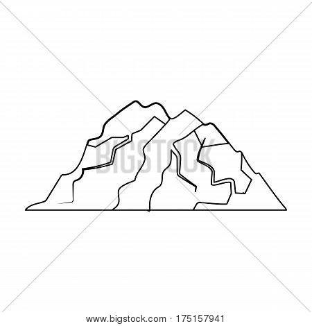Ice mountain all the cracks.The mountain from which icebergs.Different mountains single icon in outline style vector symbol stock web illustration.