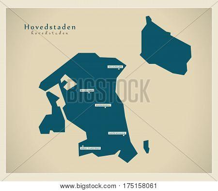 Modern Map - Hovedstaden Dk Illustration Silhouette