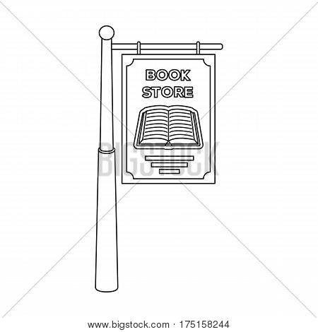 Bookstore signage icon in outline design isolated on white background. Library and bookstore symbol stock vector illustration.