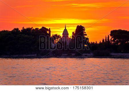 Mausoleum Of Supetar Sunset Silhouette View