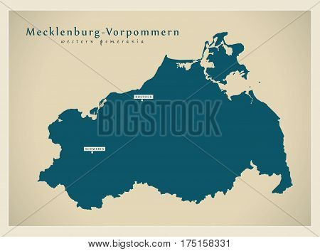 Modern Map - Mecklenburg-vorpommern De New Design Refreshed Illustration