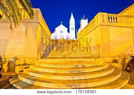 Town Of Supetar Church Evening View