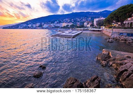Town Of Opatija At Sunset Waterfront View