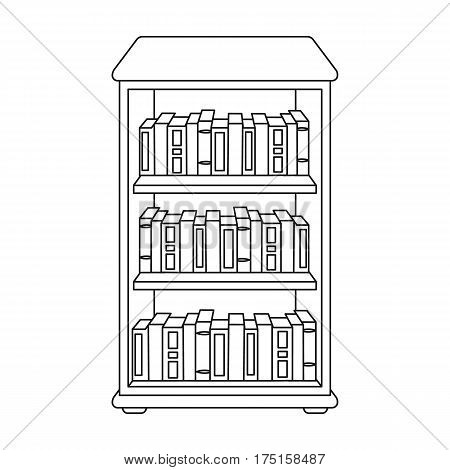 Bookcase with books icon in outline design isolated on white background. Library and bookstore symbol stock vector illustration.