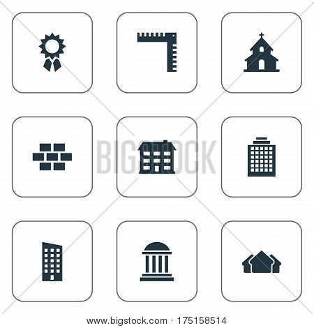 Vector Illustration Set Of Simple Structure Icons. Elements School, Academy, Stone And Other Synonyms Wall, Medal And Realty.