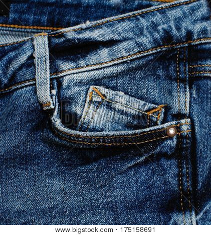 Details from blue jeans