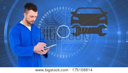 Digital composite image of mechanic using digital tablet against car mechanic interface in background