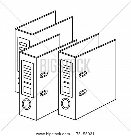 Ring binders icon in outline design isolated on white background. Library and bookstore symbol stock vector illustration.