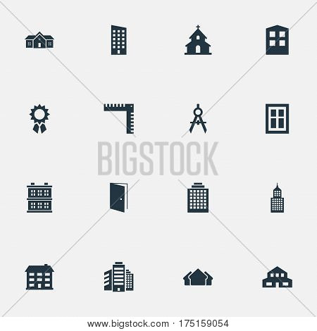 Vector Illustration Set Of Simple Construction Icons. Elements Offices, Gate, School And Other Synonyms Building, Edifice And Block.