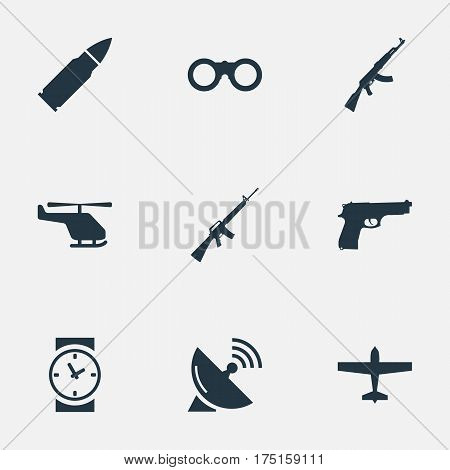 Vector Illustration Set Of Simple Battle Icons. Elements Helicopter, Pistol, Ammunition And Other Synonyms Watch, Kalashnikov And Binoculars.