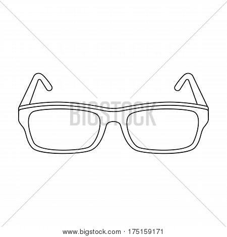 Glasses icon in outline design isolated on white background. Library and bookstore symbol stock vector illustration.