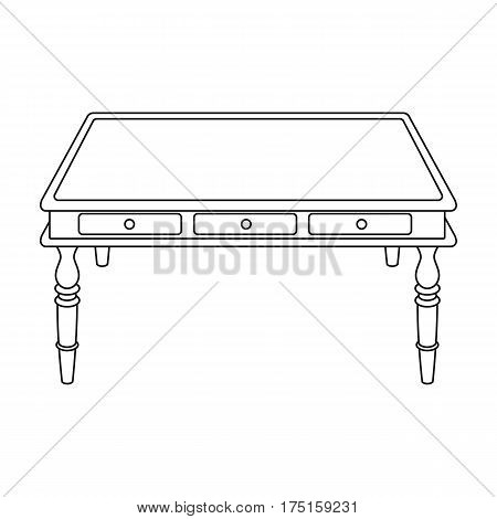 Wooden table icon in outline design isolated on white background. Library and bookstore symbol stock vector illustration.