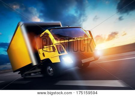 Commercial cargo delivery truck with trailer driving on highway at sunset. Generic, brandless vehicle design. 3D rendering