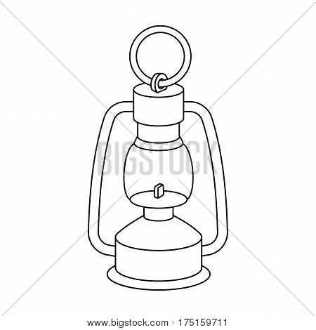 A gas lamp.The lighting device of miners.Mine Industry single icon in outline style vector symbol stock web illustration.