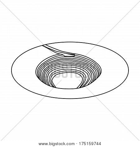 A big hole in the ground.The pit for the excavation of minerals.Mine Industry single icon in outline style vector symbol stock web illustration.
