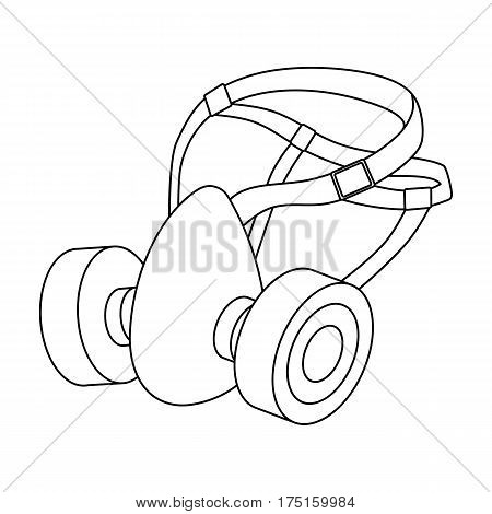 Respirator for miners. Protection from dust . Equipment of miners.Mine Industry single icon in outline style vector symbol stock web illustration.