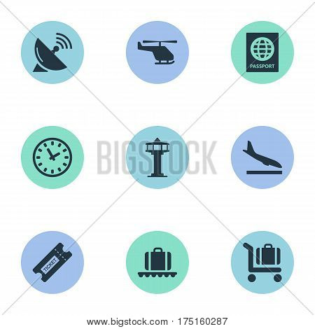 Vector Illustration Set Of Simple Travel Icons. Elements Watch, Flight Control Tower, Coupon And Other Synonyms Trolley, Conveyor And Airplane.