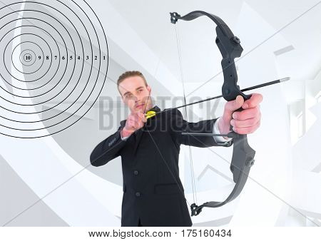 Digitally generated image of successful businessman aiming with bow and arrow