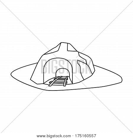 The entrance to the mine covered with grass. The place where the mine cars fall.Mine Industry single icon in outline style vector symbol stock web illustration.