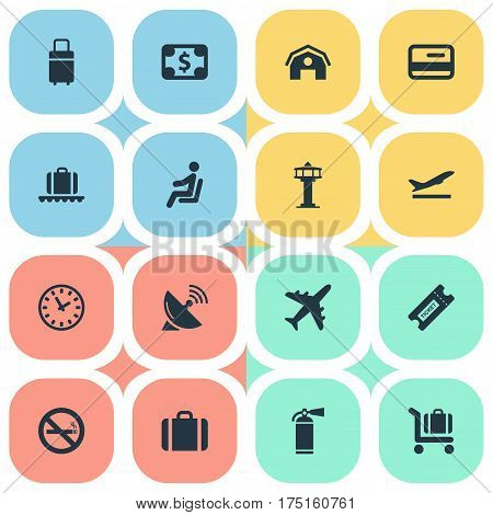 Vector Illustration Set Of Simple Airport Icons. Elements Watch, Currency, Antenna And Other Synonyms Watch, Antenna And Satelite.