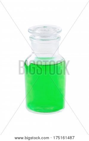 glass bottle with green liquid isolated on white medicine soap shampoo dish washing shower gel herbal extract