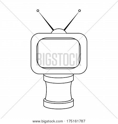 Bronze award in Famer of the TV with aerial.Trophy for best film.Movie awards single icon in outline style vector symbol stock web illustration.