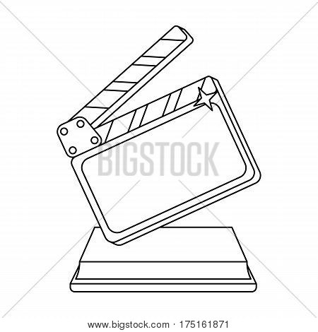 Gold clapperboard on stand.Award for best Director.Movie awards single icon in outline style vector symbol stock web illustration.