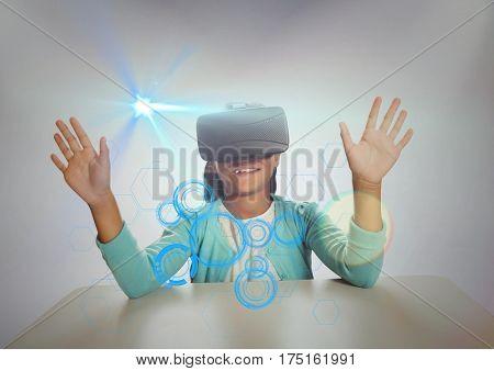 Digital generated image of shoolgirl wearing virtual reality headset