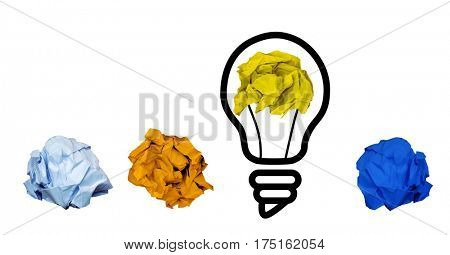 Close-up of crumpled papers with light bulb shape on white background