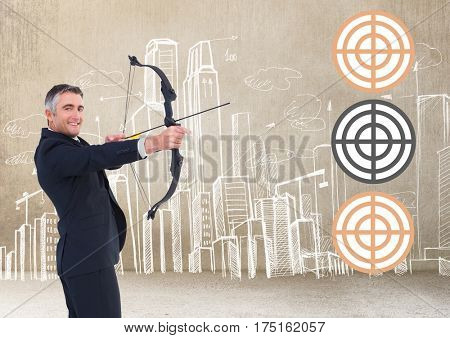 Successful businessman aiming target with bow and arrow against digitally generated background